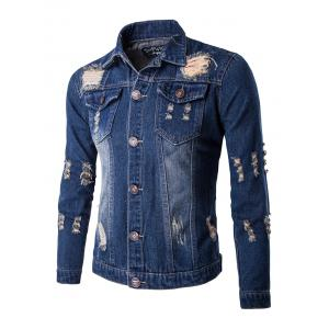 Frayed Design Mid-Wash Denim Jacket - Deep Blue - L