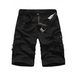 Zipper Fly Multi Pockets Rivet Embellished Cargo Shorts