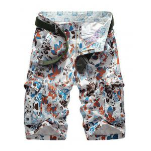 Floral Print Multi Pockets Zipper Fly Cargo Shorts