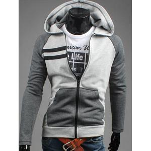 Patchwork Design Zipper Flying Casual Hoodie - Gray - M
