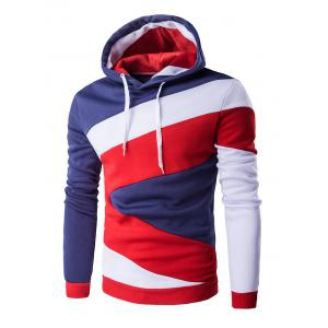 Color Blocks Spliced Long Sleeve Black Red Hoodie - Denim Blue - M