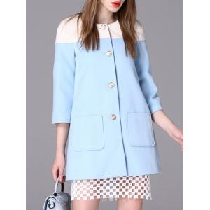 3/4 Sleeve Contrast Color Pocket Design Buttoned Coat