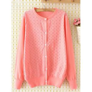 Embroidered Single-Breasted Plus Size Cardigan - Pink - 3xl