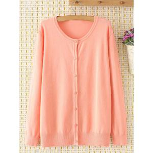 Plus Size Long Sleeve Single-Breasted Cardigan - Pink - 2xl