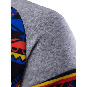 Ethnic Style Printed Hoodie - LIGHT GRAY 2XL