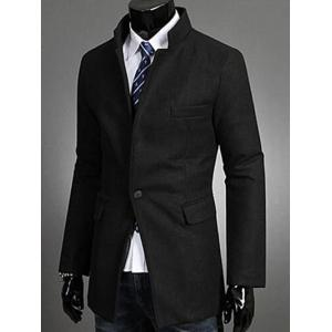 Single Button Stand Collar Wool Coat - BLACK XL