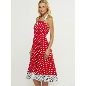 Retro Style Polka Dot Lace-Up Splicing Dress -
