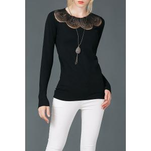 Long Sleeve Mesh Panel Top - Black - One Size