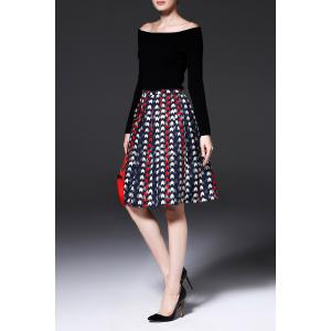 A Line Jacquard Pleated Skirt - COLORMIX M