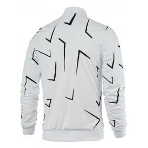 Rib Splicing Print Zip Up Jacket - WHITE 4XL