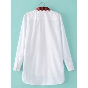 High-Low Embroidery Slit Shirt - WHITE L