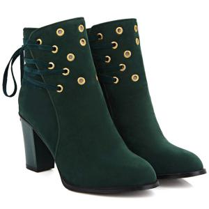 Lace-Up Chunky Heel Design Short Boots - GREEN 39