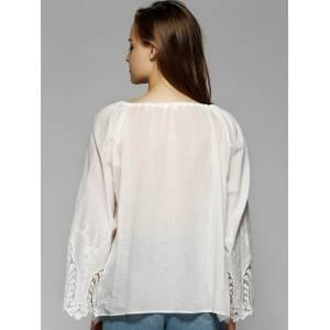 Sweet Flare Sleeve Lace Patchwork Blouse -