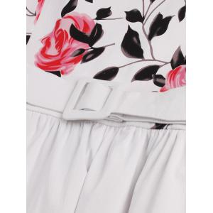 Retro Rose Floral Print Sleeveless Flare Dress With Belt -