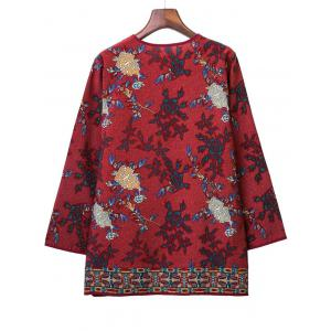 Loose-Fitting Tribal Pattern Blouse -