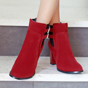Double Buckles and Chunky Heel Design Short Boots -