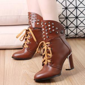 Punk Chunky Heel and Rivet Design Short Boots -