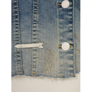 Buttoned Pocket Design Raw Edged Jacket -