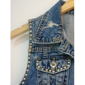 Pocket Design Beaded Ripped Vest -