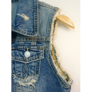 Raw Edged Monkey Pattern Ripped Denim Vest -