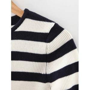 Striped Hit Color Slit Cuff Knitwear -