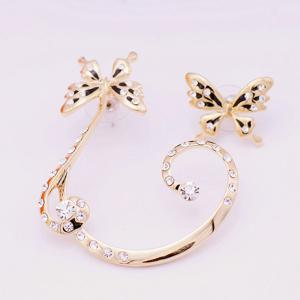 Pair of Alloy Rhinestoned Butterfly Earrings -