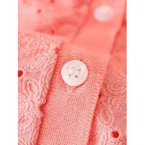 Embroidered Single-Breasted Plus Size Cardigan - PINK 3XL