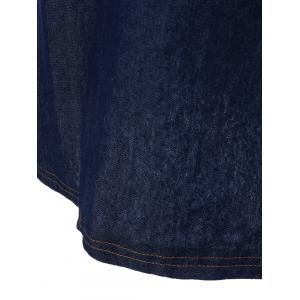 Plus Size Ruched Short Sleeves Casual Denim Shift Dress -