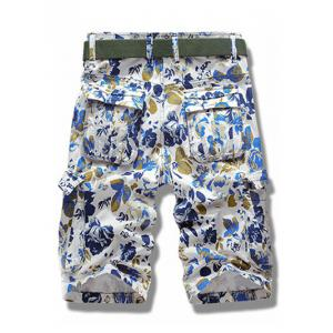 Floral Print Multi Pockets Zipper Fly Cargo Shorts -