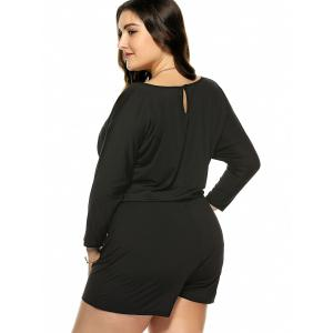 Plus Size Long Sleeve Drawstring Romper - BLACK XL