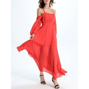 Cold Shoulder Open Back Flowing Casual Dress -