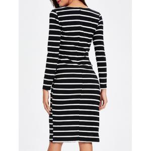 Asymmetric Striped Wrapped Bodycon Dress - BLACK 2XL