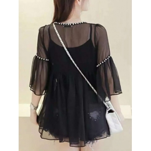 Bell Sleeve Voile Splicing Blouse Twinset -