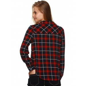 Plaid Flannel Lace Up Front Blouse - BLACK/WHITE/RED XL