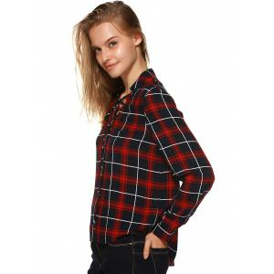 Plaid Flannel Lace Up Front Blouse - BLACK AND WHITE AND RED XL