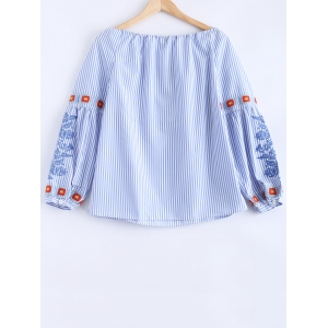 Embroidered Drawstring Striped Blouse - LIGHT BLUE L