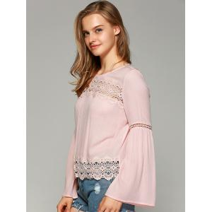 Sweet Bell Sleeve Hollow Out Blouse - SHALLOW PINK S