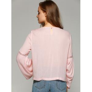 Sweet Bell Sleeve Hollow Out Blouse - SHALLOW PINK L