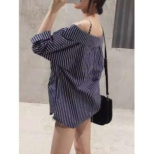 Cold Shoulder Striped Loose-Fitting Blouse -