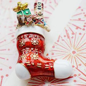Delicate Enamel Red Charm Christmas Gift Brooch -