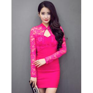 Front Cut Out Mandarin Collar Long Sleeve Lace Dress -