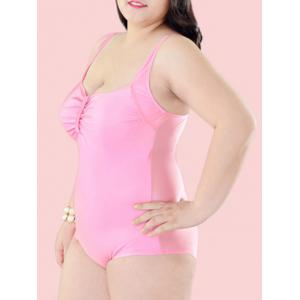 Plus Size Open Back One-Piece Swimwear -