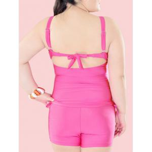 Plus Size Tie Front Underwire Padded Slimming Tankini -