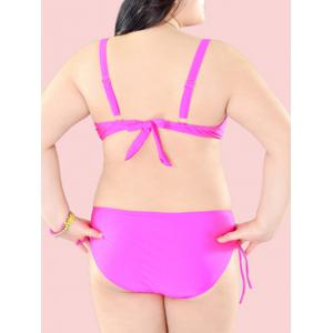Surdimensionné Pure Color Tie Side Bikini -