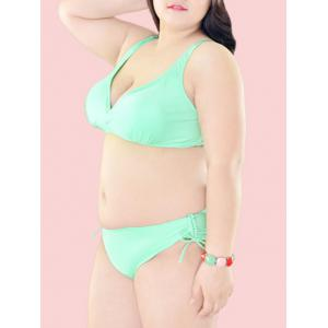 Oversized Pure Color Tie Side Bikini Set -