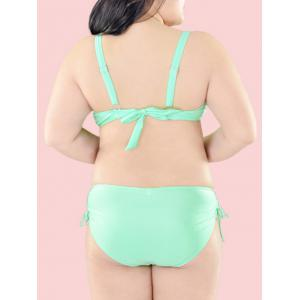 Oversized Pure Color Tie Side Bikini Set - LIGHT GREEN 3XL