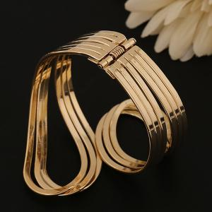 Multilayer Encircle Statement Cuff Bracelet - GOLDEN
