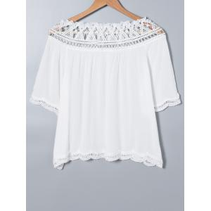 Lace Splicing Crochet Bat Sleeve Blouse -