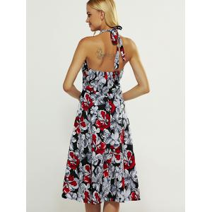 Halter High Waist Floral Print Backless Dress -