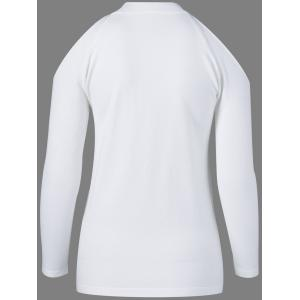 Round Neck Long Sleeve Voile Splicing Sweater -